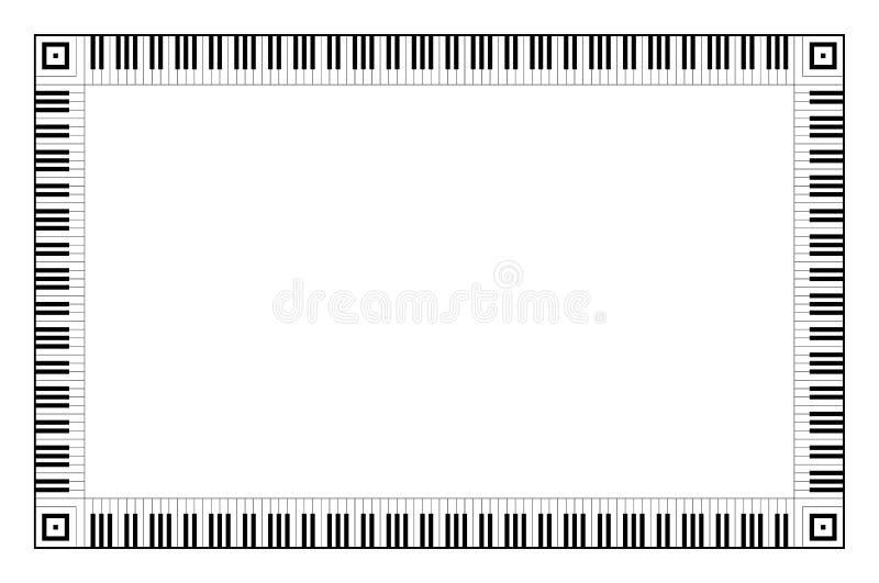 Muzykalna klawiaturowa prostokąt rama ilustracja wektor