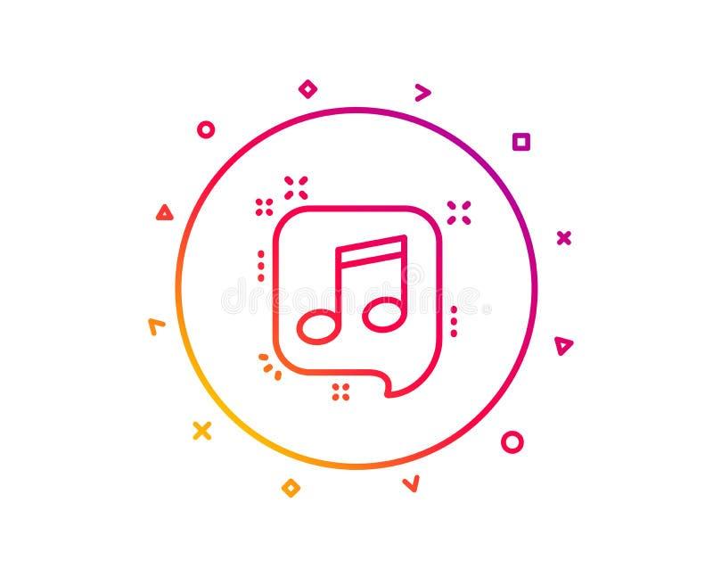 Muzykalna notatka w mowa bąbla linii ikonie Muzyka znak wektor ilustracja wektor