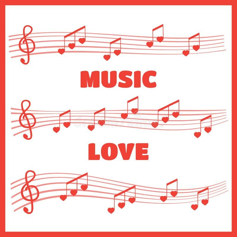 Muzykalne notatki i akordy kierowi ilustracja wektor