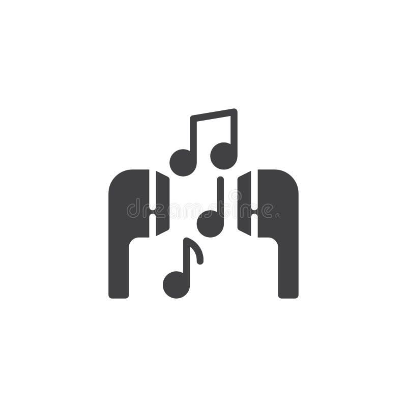 Muzykalne notatki i słuchawka wektoru ikona royalty ilustracja