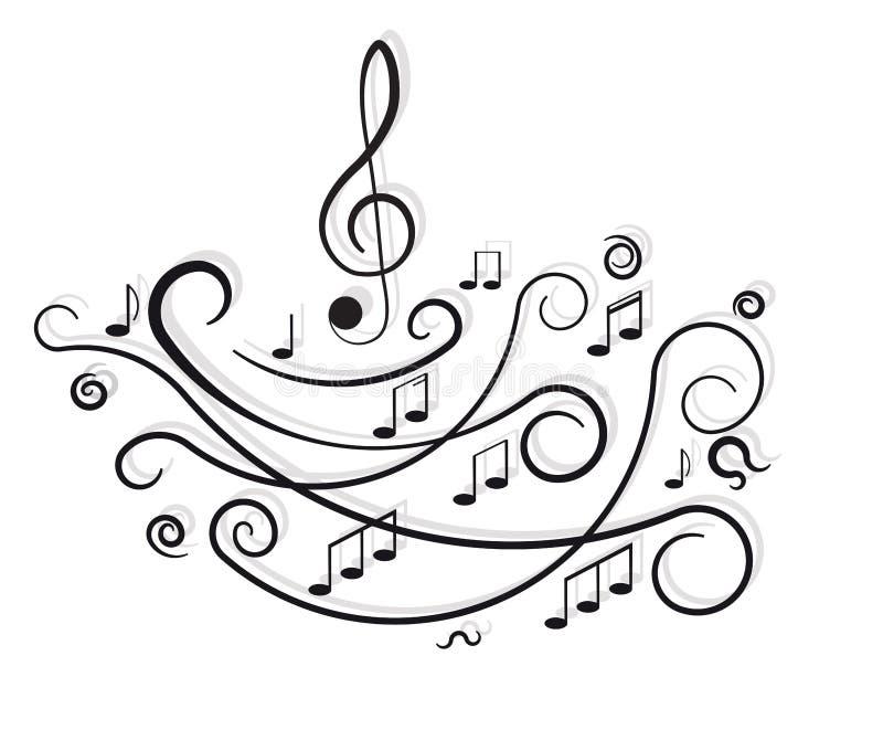 Muzykalne notatki. Ornament z zawijasami. ilustracji