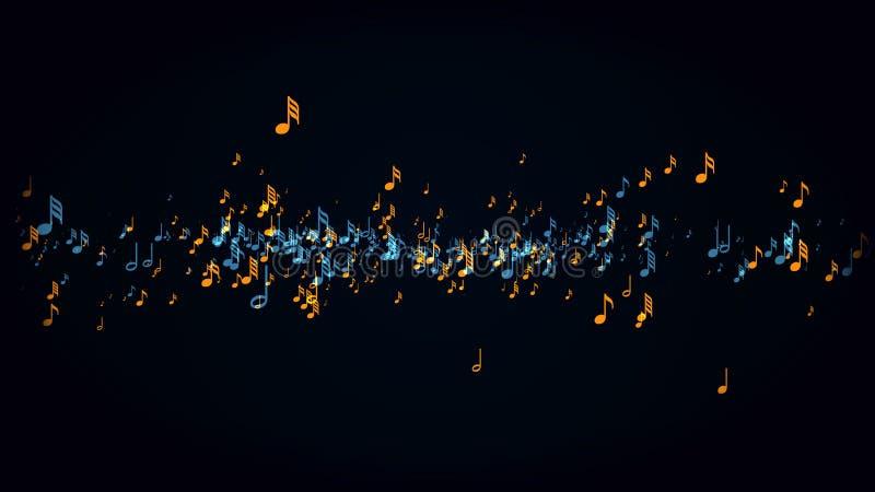 Muzykalne notatki z głębią pole ilustracja wektor
