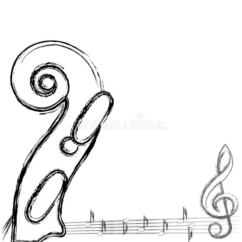 Muzykalne notatki z skrzypcowym tłem na bielu. royalty ilustracja