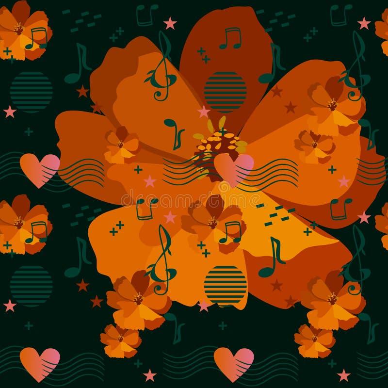 Muzykalne władcy przechodzi przez serca, muzyka znaki, notatki, gwiazdy i elementy w Memphis stylu na pomarańczowych kosmosów kwi royalty ilustracja