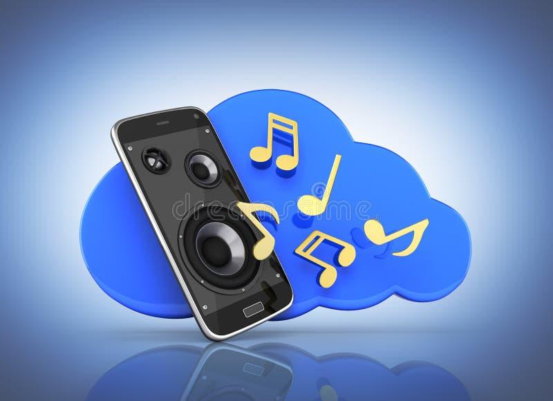 Muzykalnego smartphone telefonu komórkowego app muzyczny telefon komórkowy i głośniki z obłocznym pojęciem obłoczny magazyn na zm royalty ilustracja