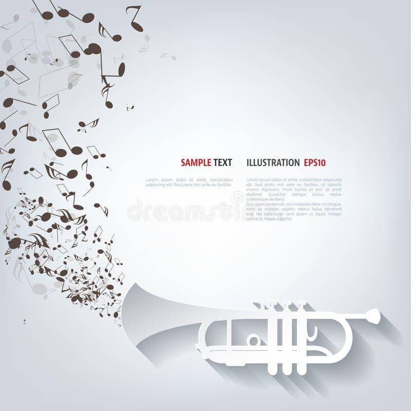 Muzykalnego tła wektorowa ilustracja z notatkami i wiatrowym instrumentem ilustracji