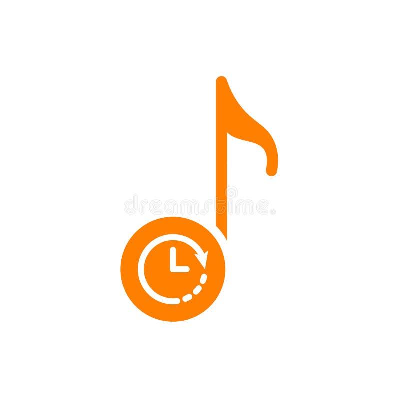Muzykalnej notatki ikona, muzyczna ikona z zegaru znakiem Muzykalnej notatki ikona i odliczanie, ostateczny termin, rozkład, plan ilustracja wektor