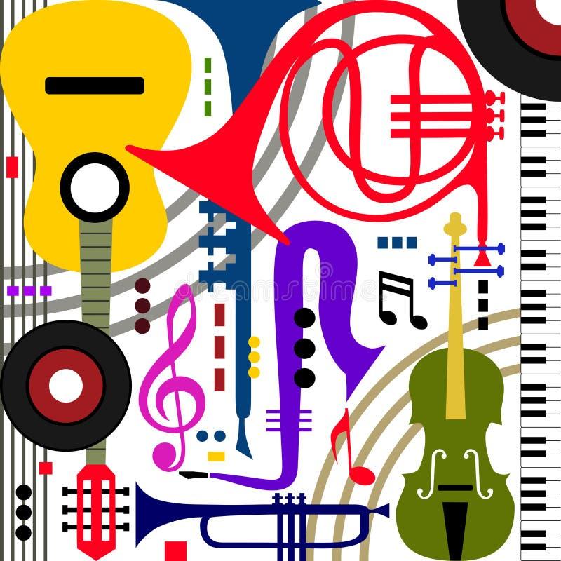 muzykalni abstrakcjonistyczni instrumenty ilustracja wektor