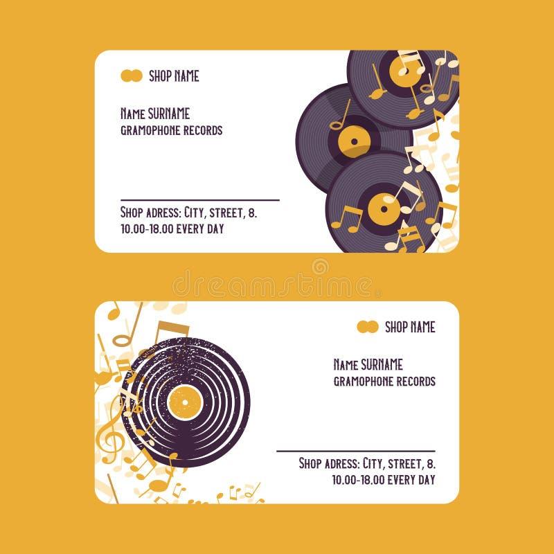 Muzykalni akcesoria ustawiający wizytówka wektoru ilustracja Muzyczny pojęcie z winylowymi rejestrami, notatki gram ilustracji