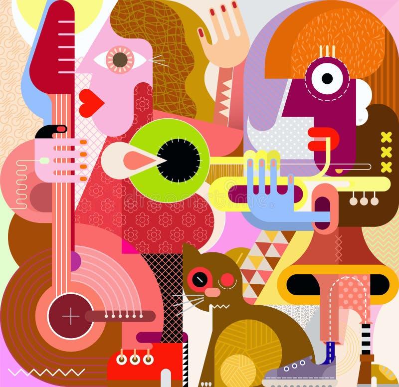 Muzykalny duet i kot ilustracji