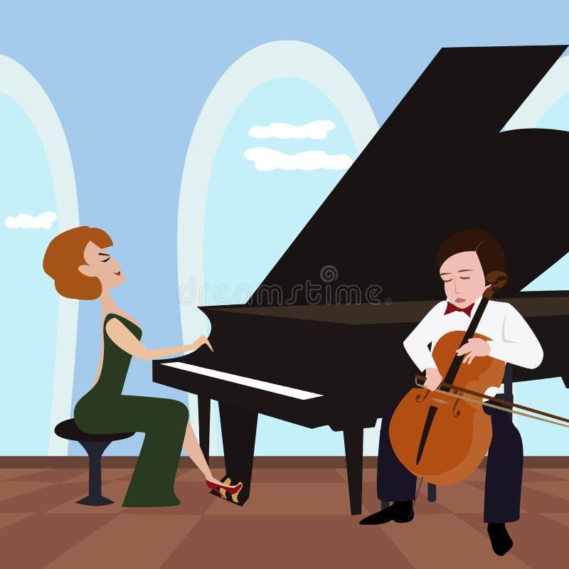 Muzykalny duet z pianinem i violoncello ilustracja wektor