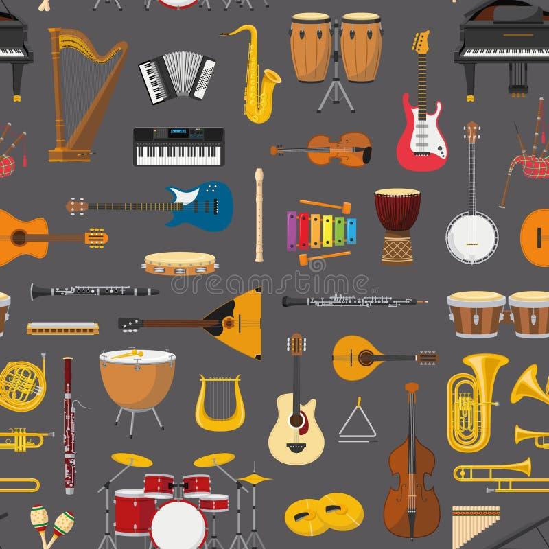 Muzykalny instrumentalny bezszwowy deseniowy tło royalty ilustracja