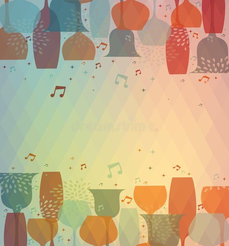 Muzykalny koktajlu szkła kolorowy tło ilustracji