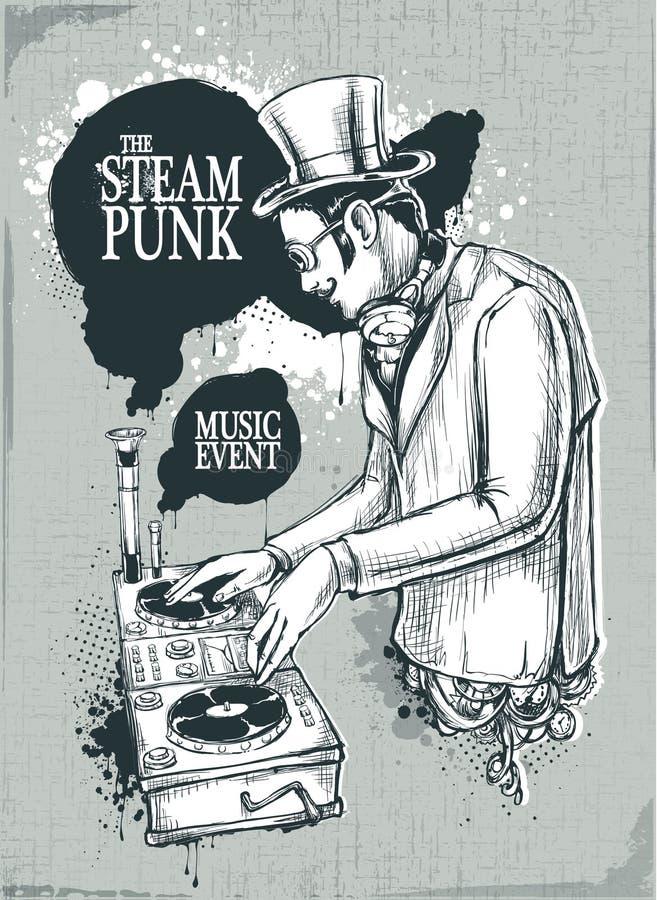 muzykalny plakatowy steampunk ilustracja wektor