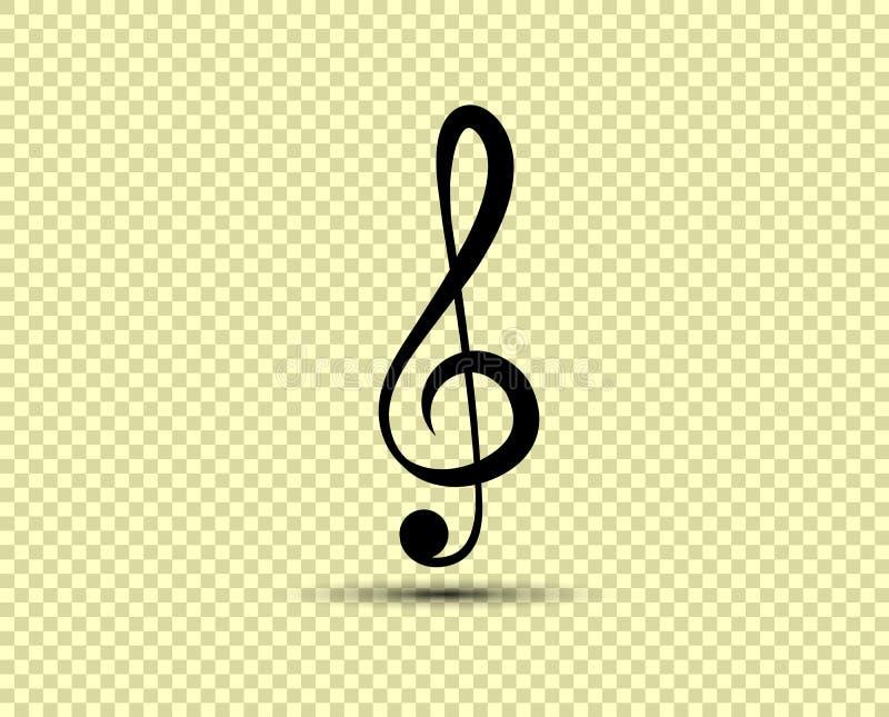 Muzykalny wektorowy treble clef, ikona, sylwetka Przedmiot odizolowywa na przejrzystym lekkim tle ilustracja wektor