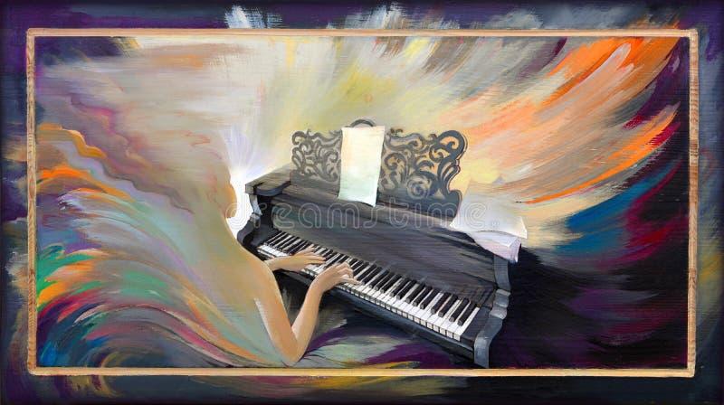 Muzykalny wulkan Portret bawić się pianino w fantazi środowisku piękna dziewczyna Obraz olejny na drewnie ilustracja wektor