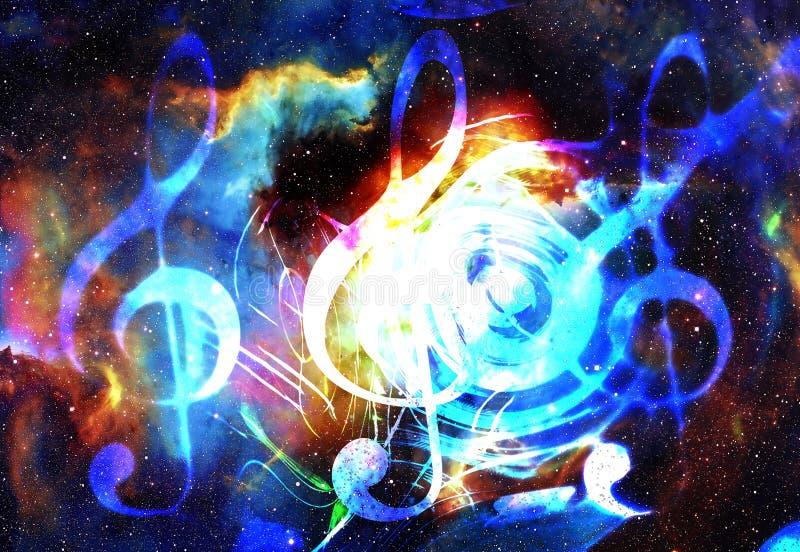 Muzyki clef w przestrzeni z gwiazdami i notatki kolor tła abstrakcyjne pojęcia gitary elektrycznej ilustraci muzyka royalty ilustracja