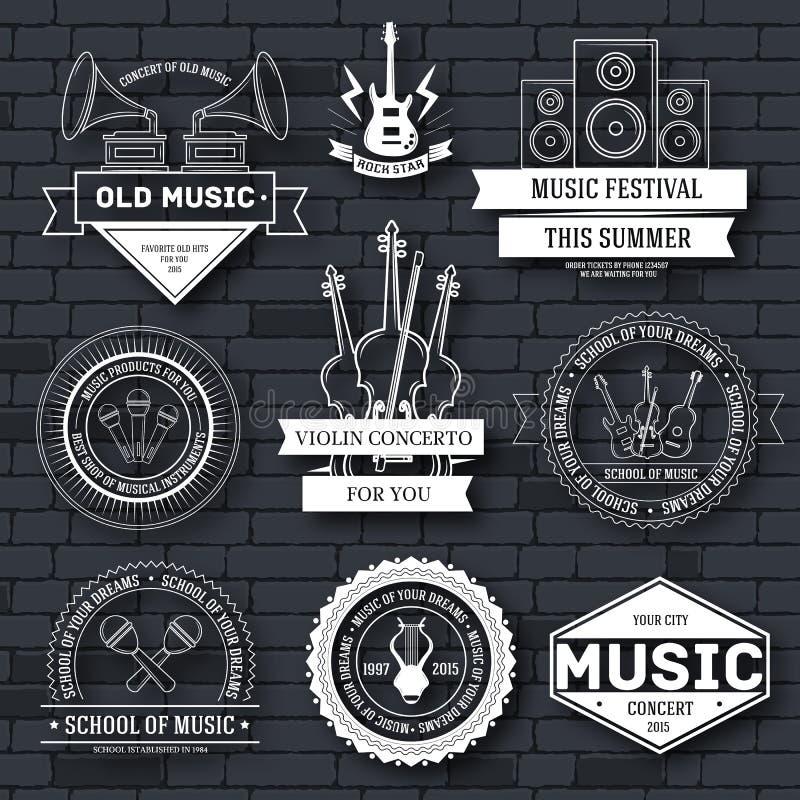 Muzyki etykietki ustalony szablon emblemata element dla twój produktu, projekta, sieci lub wiszącej ozdoby zastosowań z tekstem,  ilustracji
