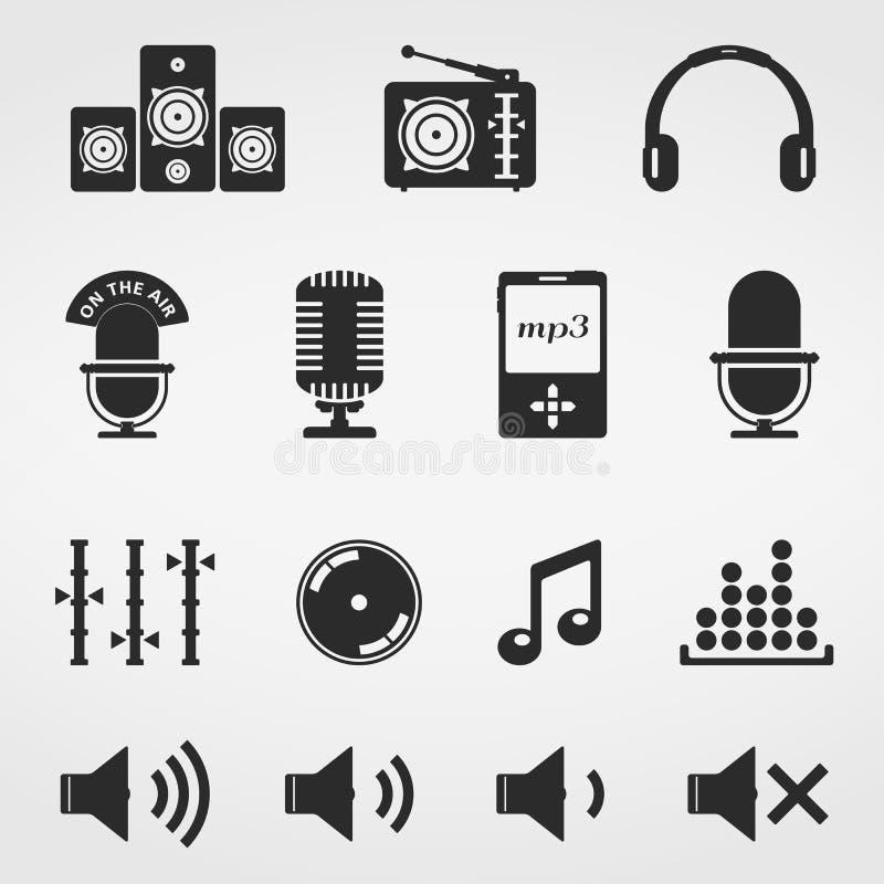 Muzyki i dźwięka ikony royalty ilustracja