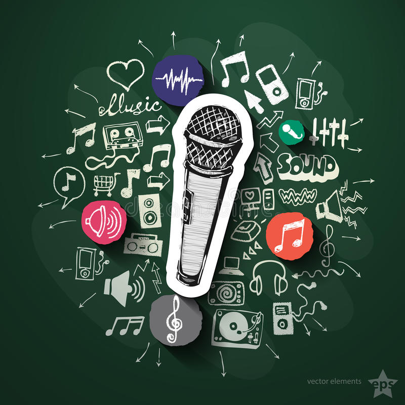 Muzyki i rozrywki kolaż z ikonami dalej ilustracji