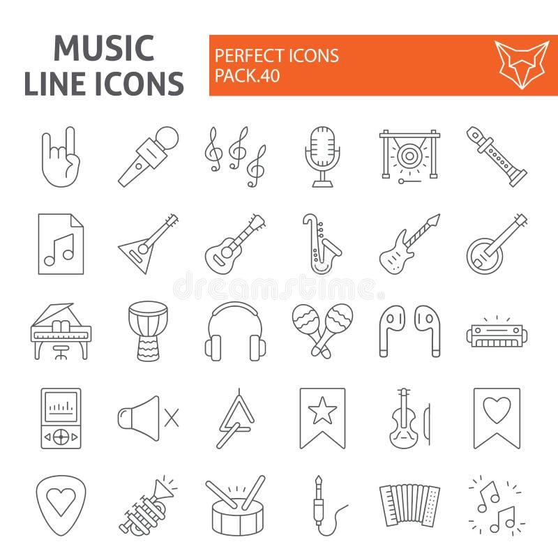 Muzyki ikony cienki kreskowy set, instrumentów muzycznych symboli/lów kolekcja, wektorowi nakreślenia, logo ilustracje, audio wyp ilustracji