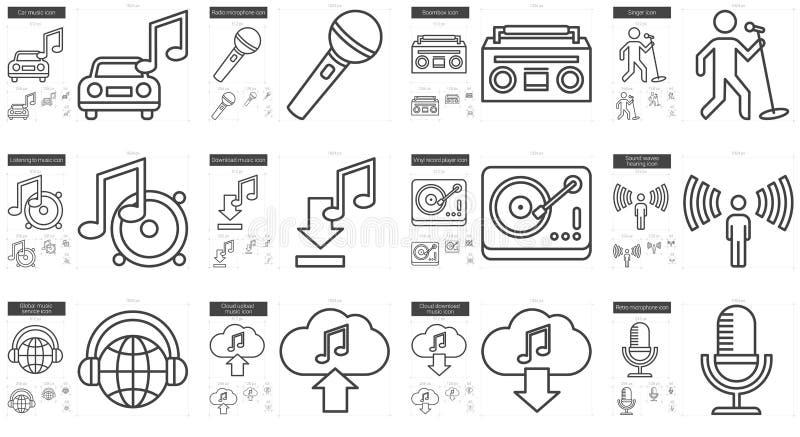 Muzyki ikony kreskowy set royalty ilustracja
