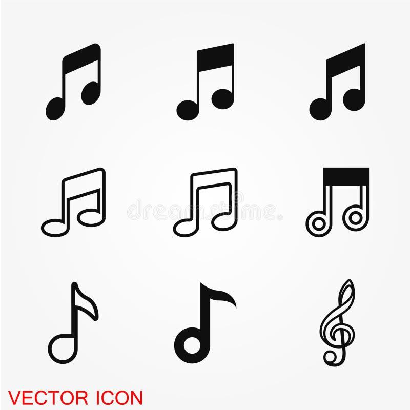 Muzyki ikony nutowy wektor royalty ilustracja