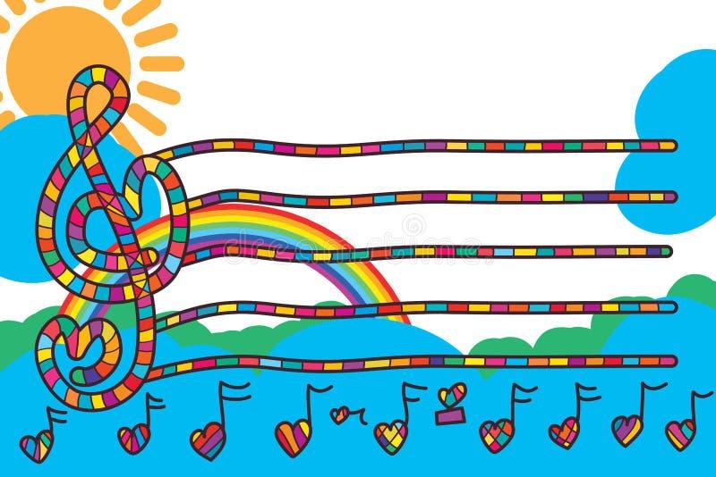 Muzyki miłości linii szablonu zaproszenia nutowa karta ilustracja wektor