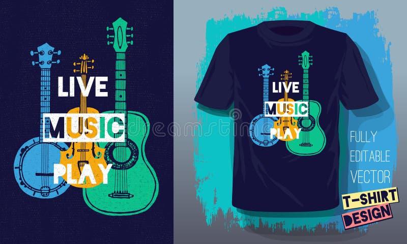 Muzyki na żywo sztuki literowania sloganu nakreślenia stylu retro gitara akustyczna, bandżo, skrzypce, skrzypki dla t koszulowego ilustracja wektor