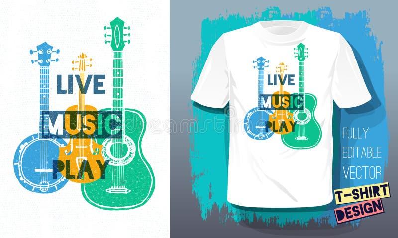 Muzyki na ?ywo sztuki literowania sloganu nakre?lenia stylu retro gitara akustyczna, band?o, skrzypce, skrzypki dla t koszulowego royalty ilustracja