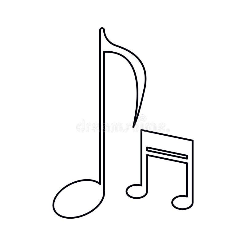 Muzyki notatki dźwięka melodii symbolu kontur royalty ilustracja