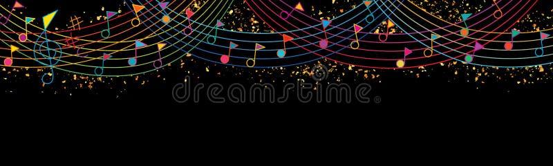 Muzyki notatki flagi wierzchołka świętowania tęczy linii giltter sztandar ilustracja wektor