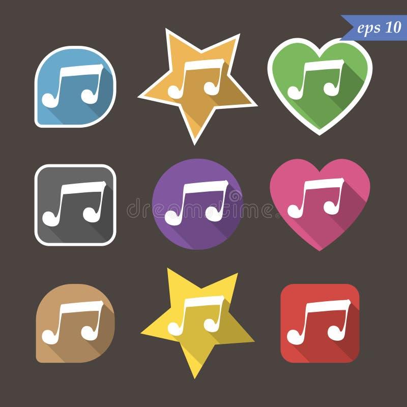 Muzyki notatki znaka ikona symbol muzyczny 9 guzików wektor ilustracja wektor