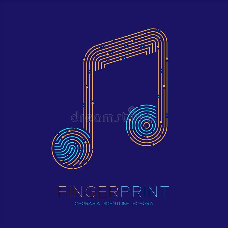 Muzyki notatki znaka wzoru odcisk palca obrazu cyfrowego logo ikony junakowania linia, muzyka pojęcie Editable uderzenia ilustrac ilustracji