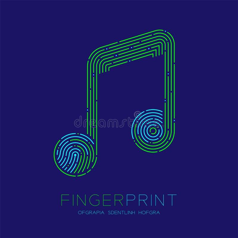 Muzyki notatki znaka wzoru odcisk palca obrazu cyfrowego logo ikony junakowania linia, muzyka pojęcie Editable uderzenia ilustrac ilustracja wektor