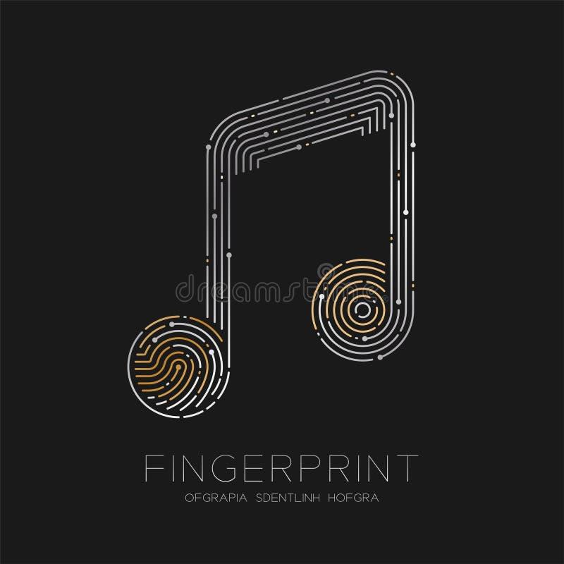 Muzyki notatki znaka wzoru odcisk palca obrazu cyfrowego logo ikony junakowania linia, muzyka pojęcie, ilustracyjny złoto i srebr ilustracji