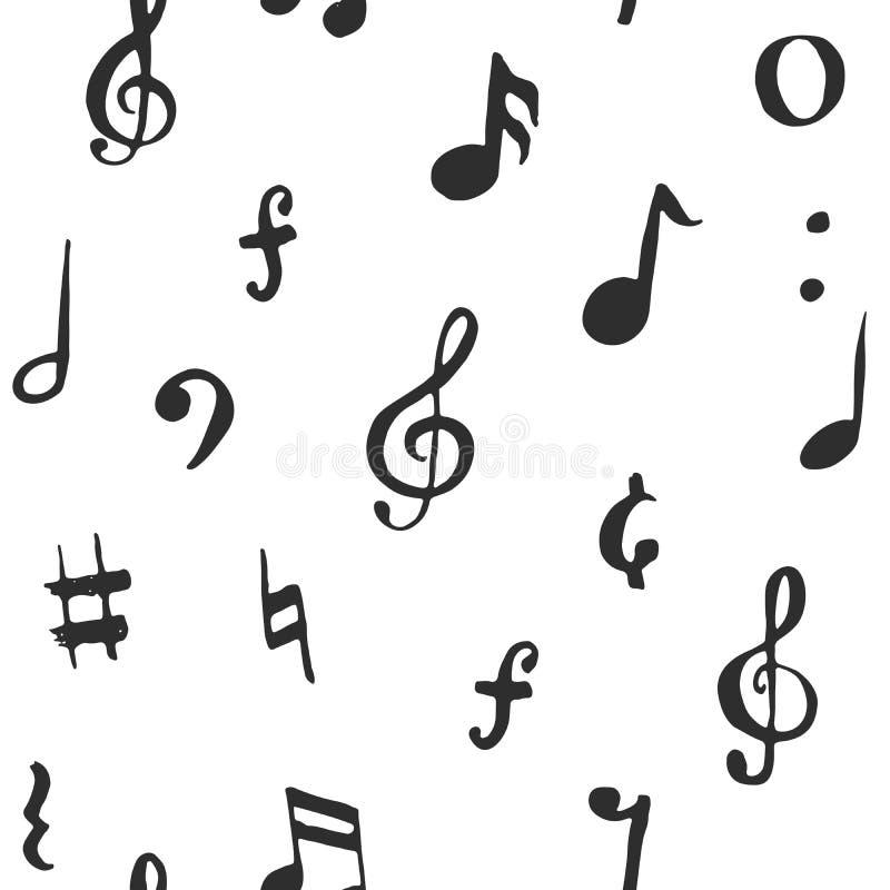 Muzyki nutowa bezszwowa deseniowa wektorowa ilustracja Ręka rysująca kreśląca doodle muzyka zauważa symbole ilustracja wektor