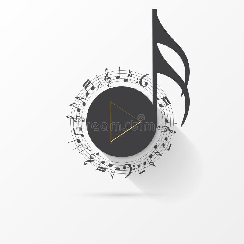 Muzyki Nutowa ikona Kreatywnie symbol z sztuka guzikiem wektor ilustracja wektor