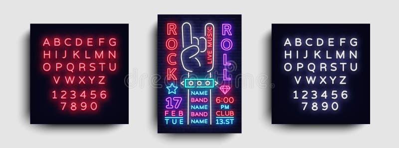 Muzyki Rockowej nocy przyjęcia ulotki projekta szablon Rock And Roll Neonowy znak, Lekki sztandar, Projektuje Rockowego koncerta  ilustracja wektor