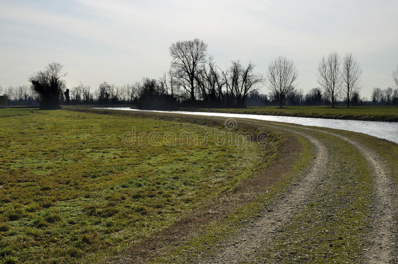 Muzza bend in backlight. Foreshortening of important artificial canal in winter country , shot in bright back light on lombardy plains stock images