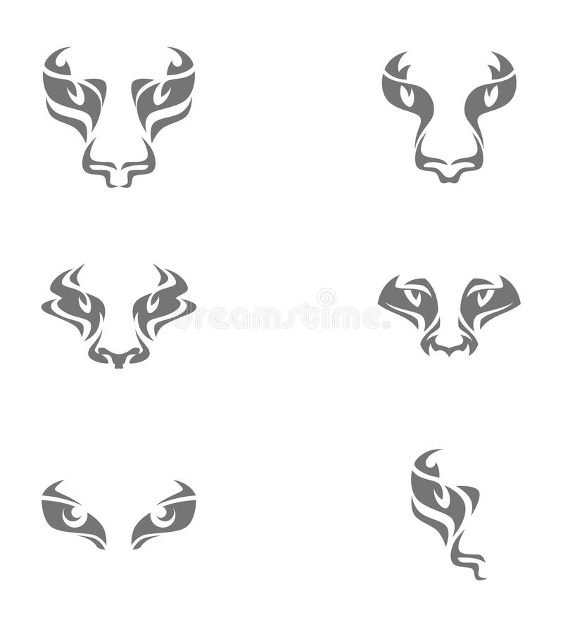 Muzzle. Of wild cat on a white background vector illustration