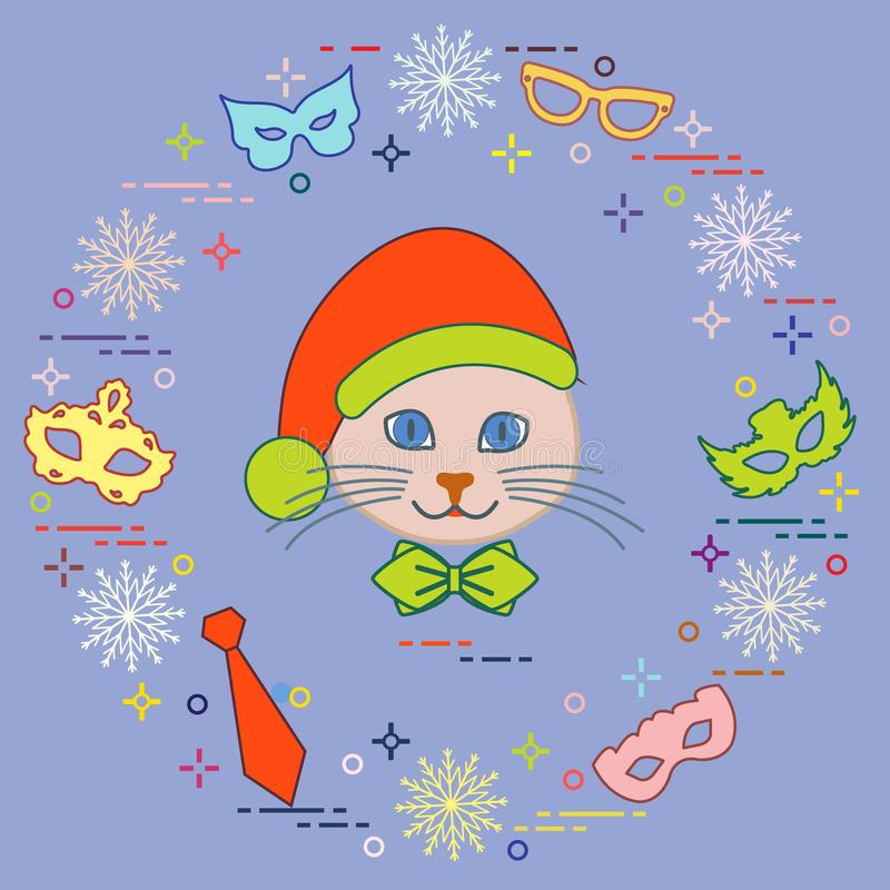 Muzzle of a cat in a Christmas hat and carnival masks, snowflake. S, glasses, tie. Carnival festive concept. Costume for a party vector illustration