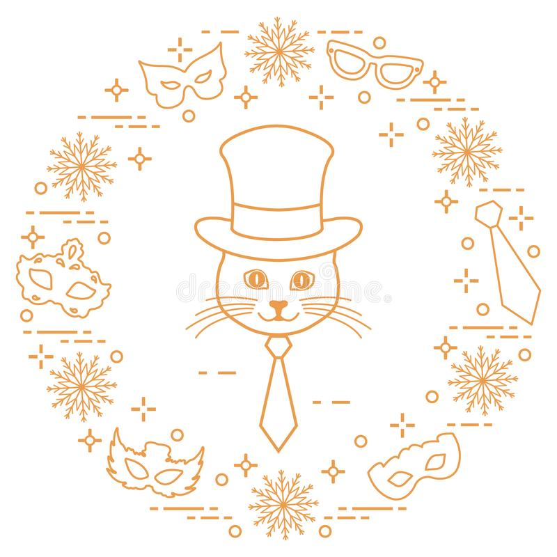 Muzzle of a cat in a cylinder hat and carnival masks, snowflakes royalty free illustration