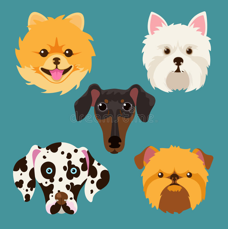 Muzzle different breeds of dogs. Dog characters. Cartoon vector illustration.Set of 5 stickers different breeds dogs, handmade. Head dog. Icons with dogs stock illustration