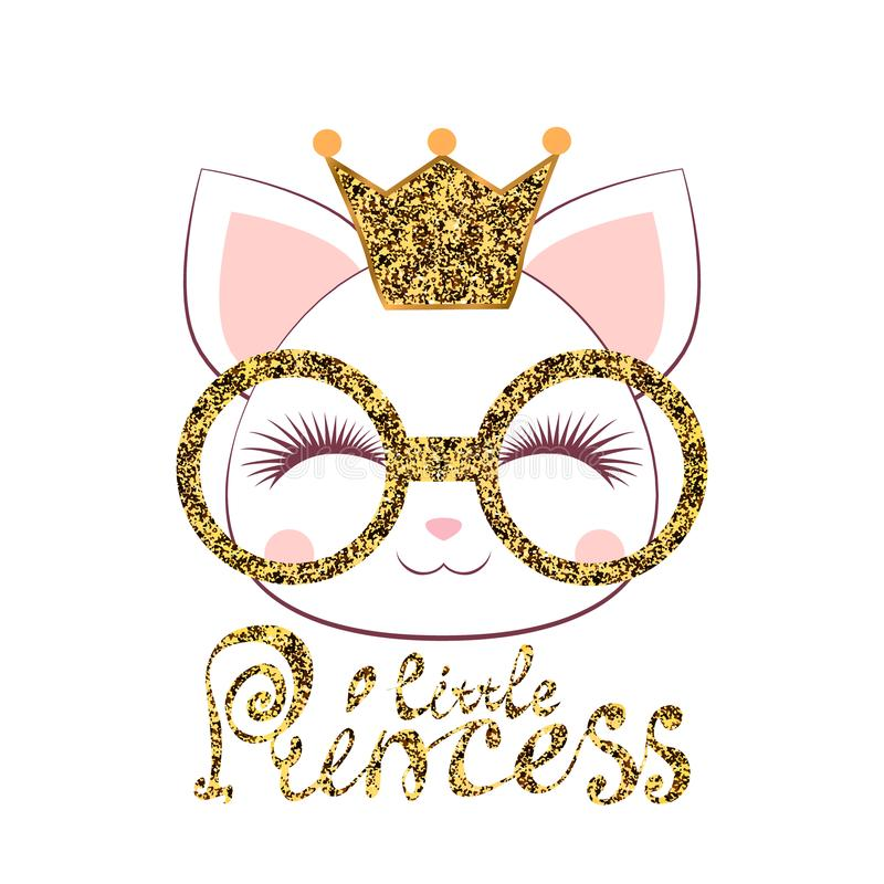 Muzzle of a kitten girl with a gold crown and glasses with an inscription a little princess on white background royalty free stock images
