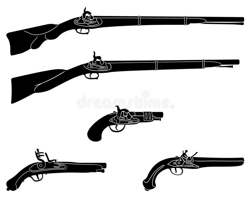 Muzzle loading firearms royalty free illustration