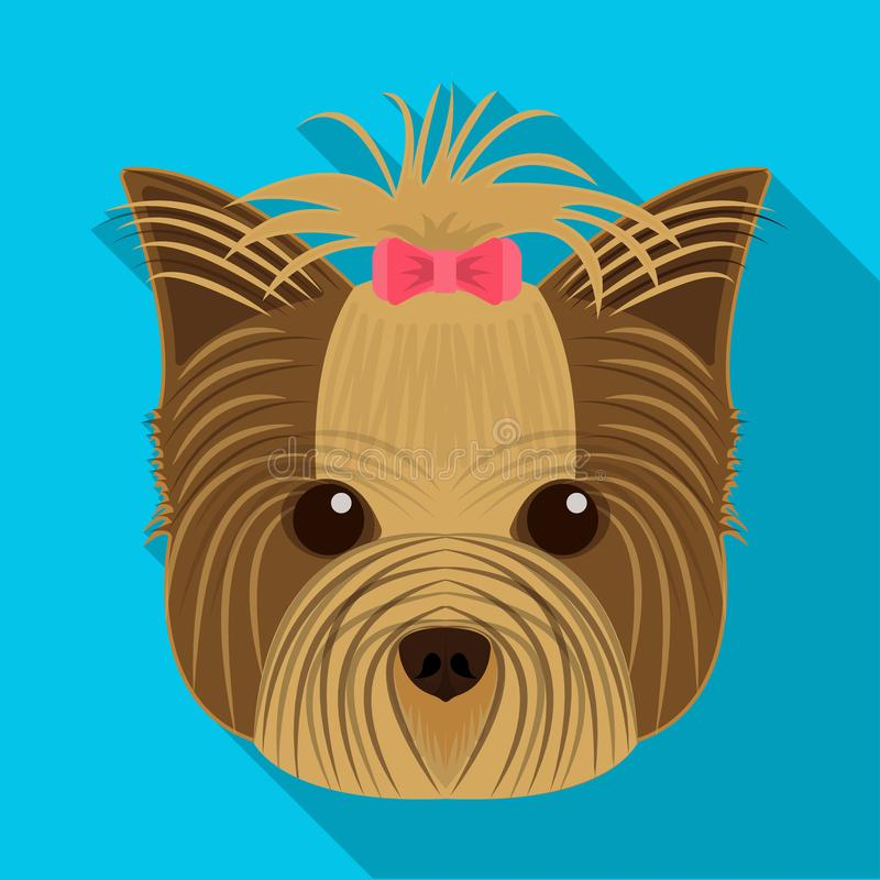 Muzzle of a pet, a hairdress dog with a bow. Pet ,dog care single icon in flat style vector symbol stock illustration. Muzzle of a pet, a hairdress dog with a stock illustration
