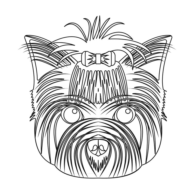 Muzzle of a pet, a hairdress dog with a bow. Pet ,dog care single icon in outline style vector symbol stock illustration. Muzzle of a pet, a hairdress dog with a vector illustration