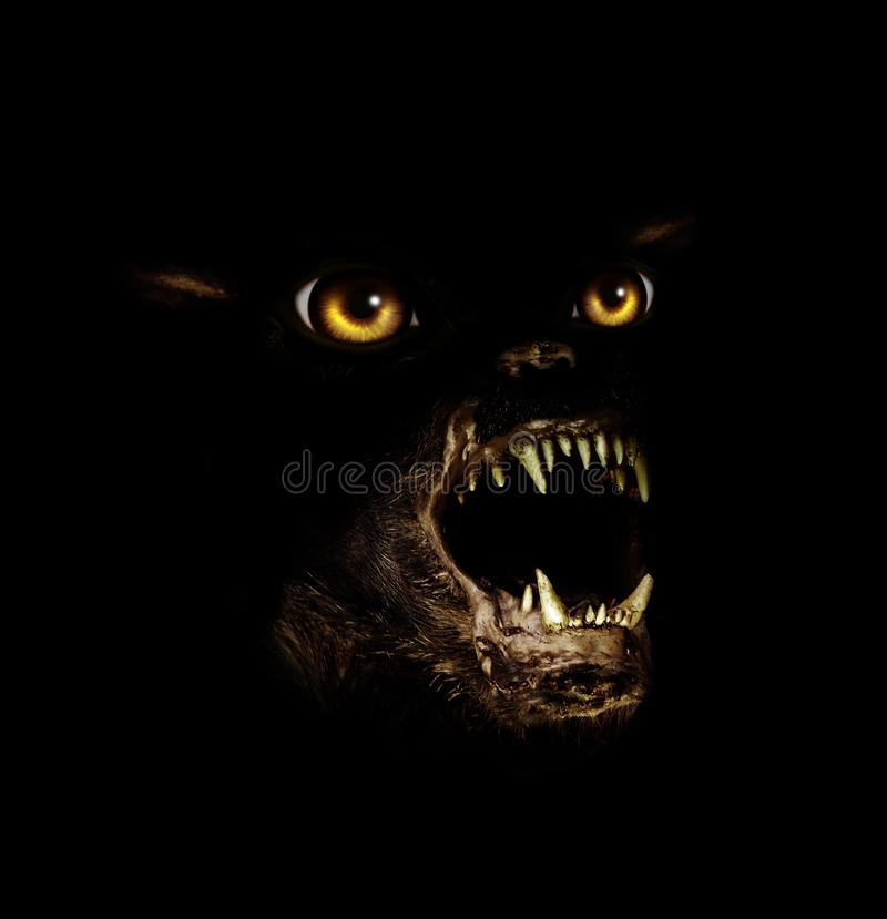 Muzzle of terrible gremlin. With grinning mouth and yellow eyes. On black background. 3d render royalty free illustration