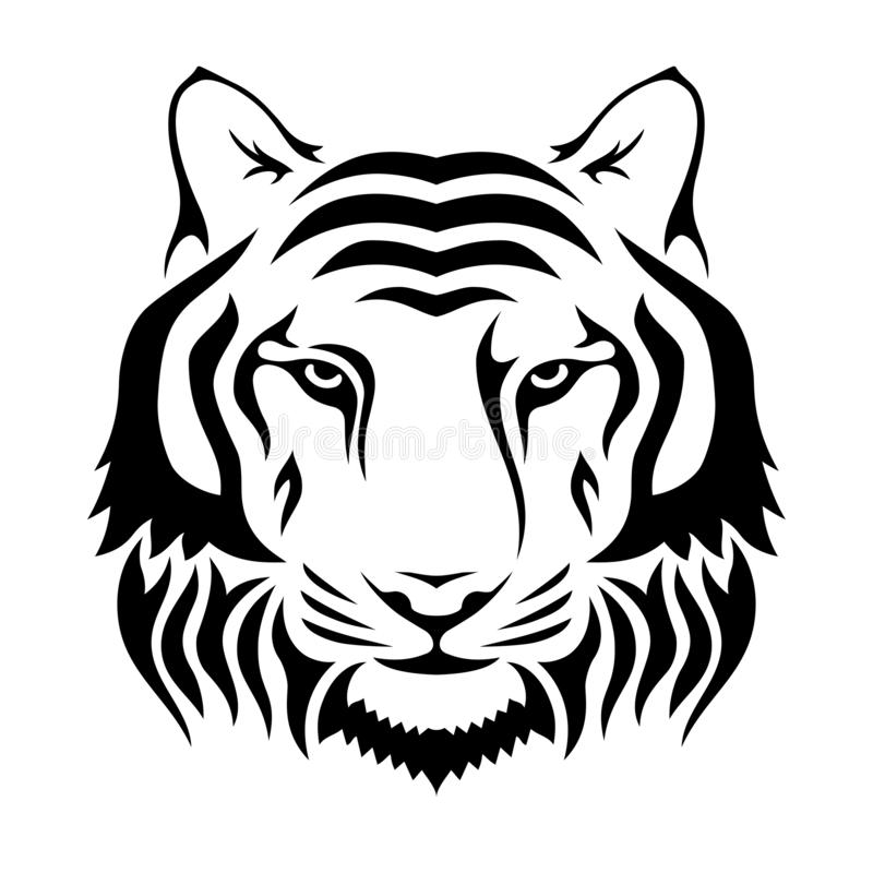 Muzzle of a tiger isolated on wgite background. Tiger`s head silhouette. Logo, emblem template. Symbol for business or shirt design. Vector monochrome vector illustration